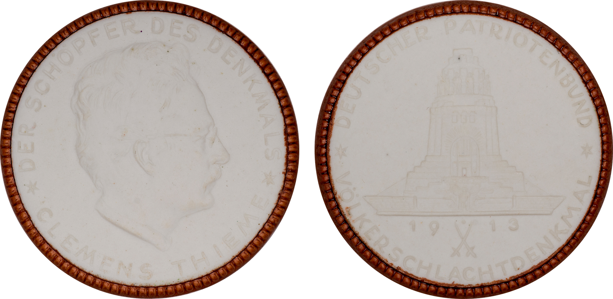 #11  Diameter: 39.5mm / Weight: 10.8g  Germany 1913 Porcelain Medal  Scheuch #  Mintage