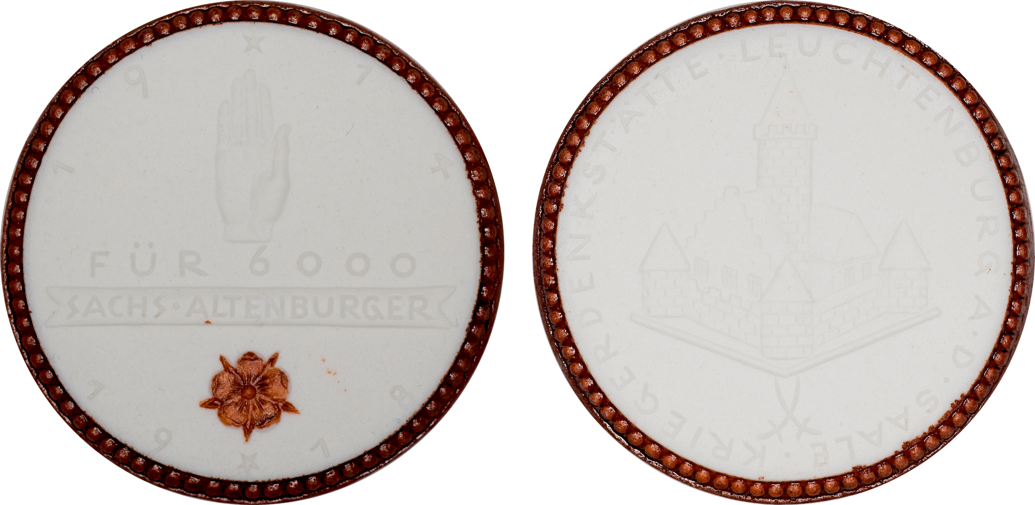 #14  Diameter: 39.5mm / Weight: 9.2g  Germany (Altenburg) 1918 Porcelain  Medal  Scheuch #  Mintage: