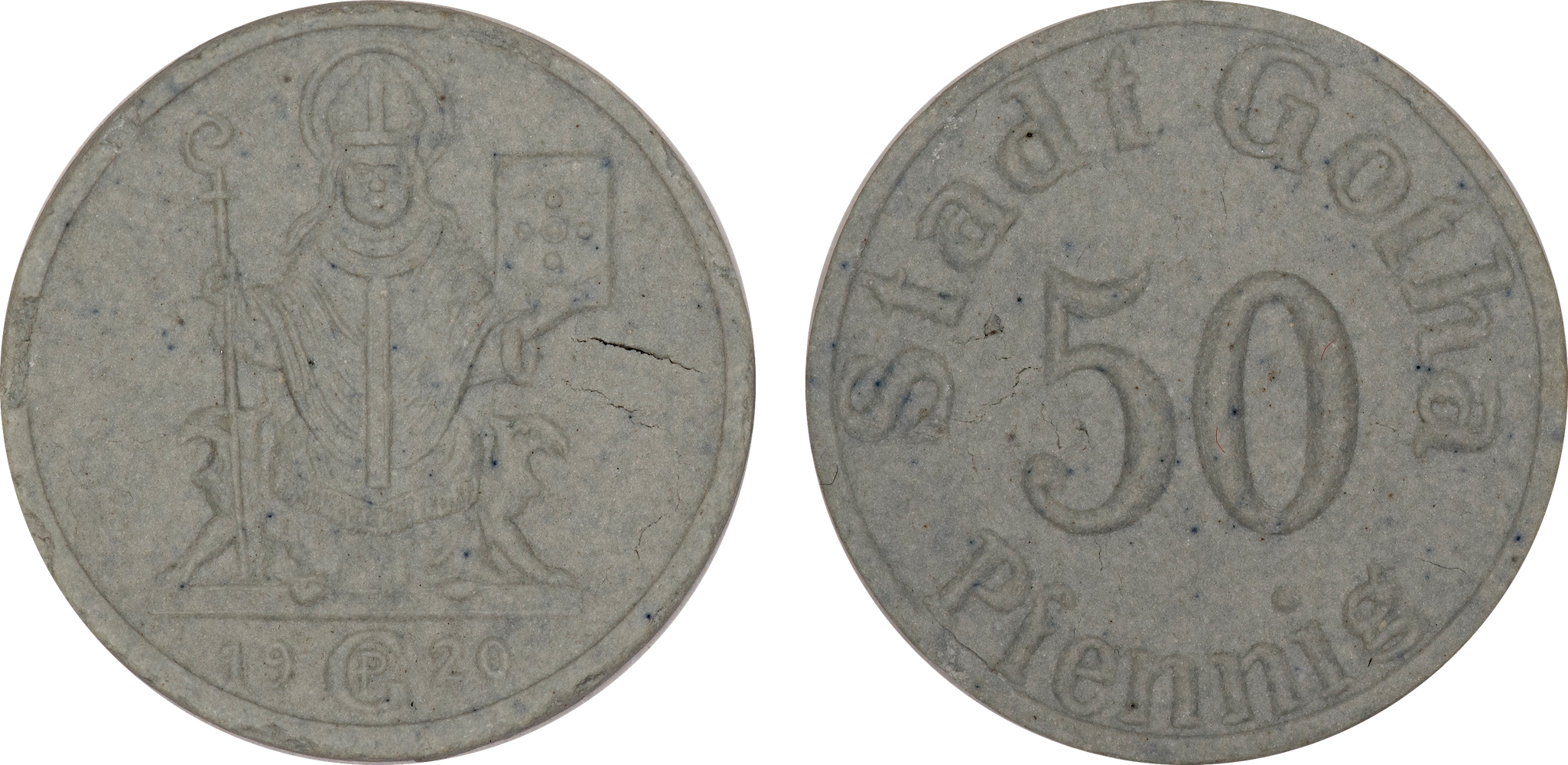 #15  Diameter: 23mm / Weight: 1.6g  Germany (Gotha) 1920 Porcelain 50 Pfennig  Scheuch #  Mintage:
