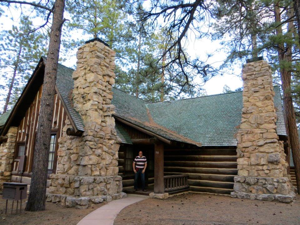 Dan and the cabin.
