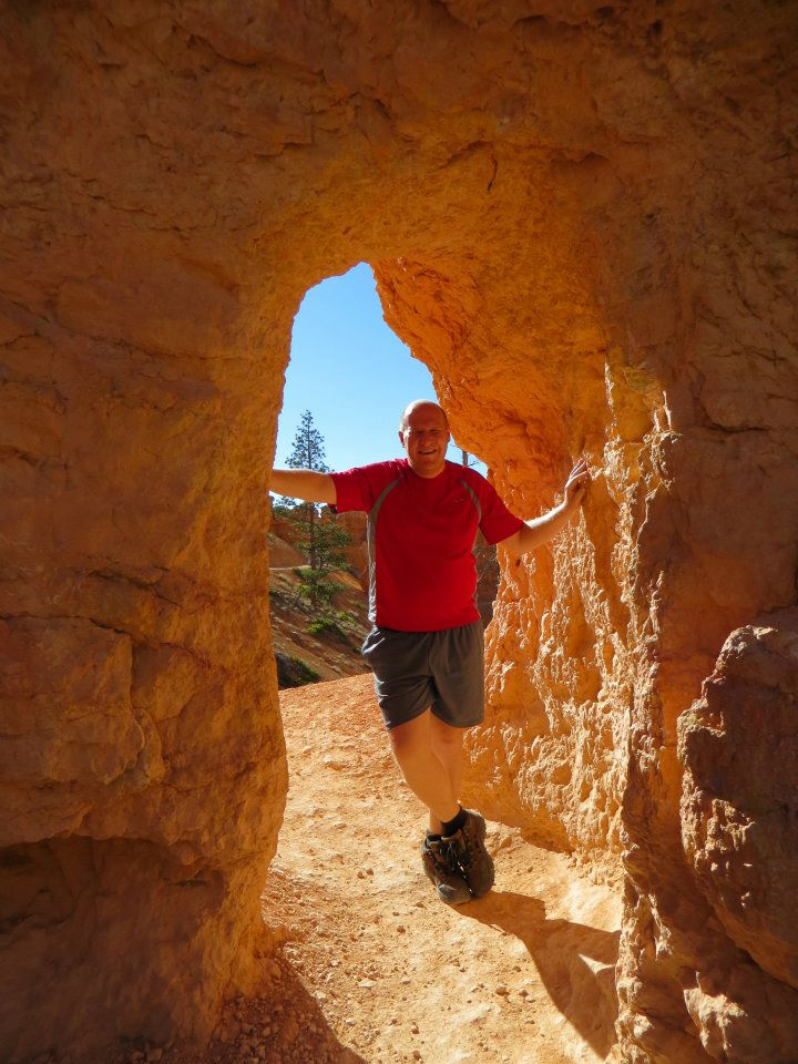 Dan looking extra big in a small archway.
