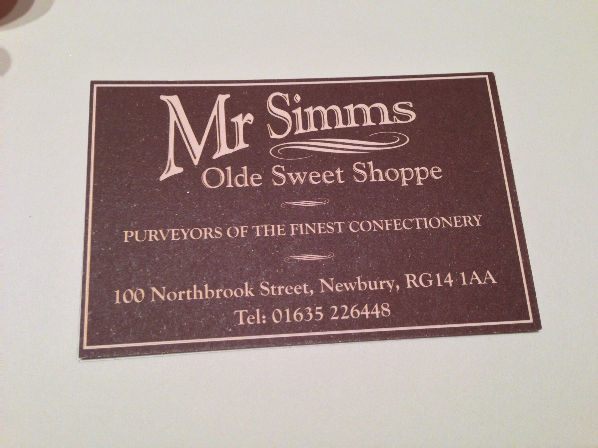 The label from the candy shop where the bar was purchased. I get to visit Newbury in March!
