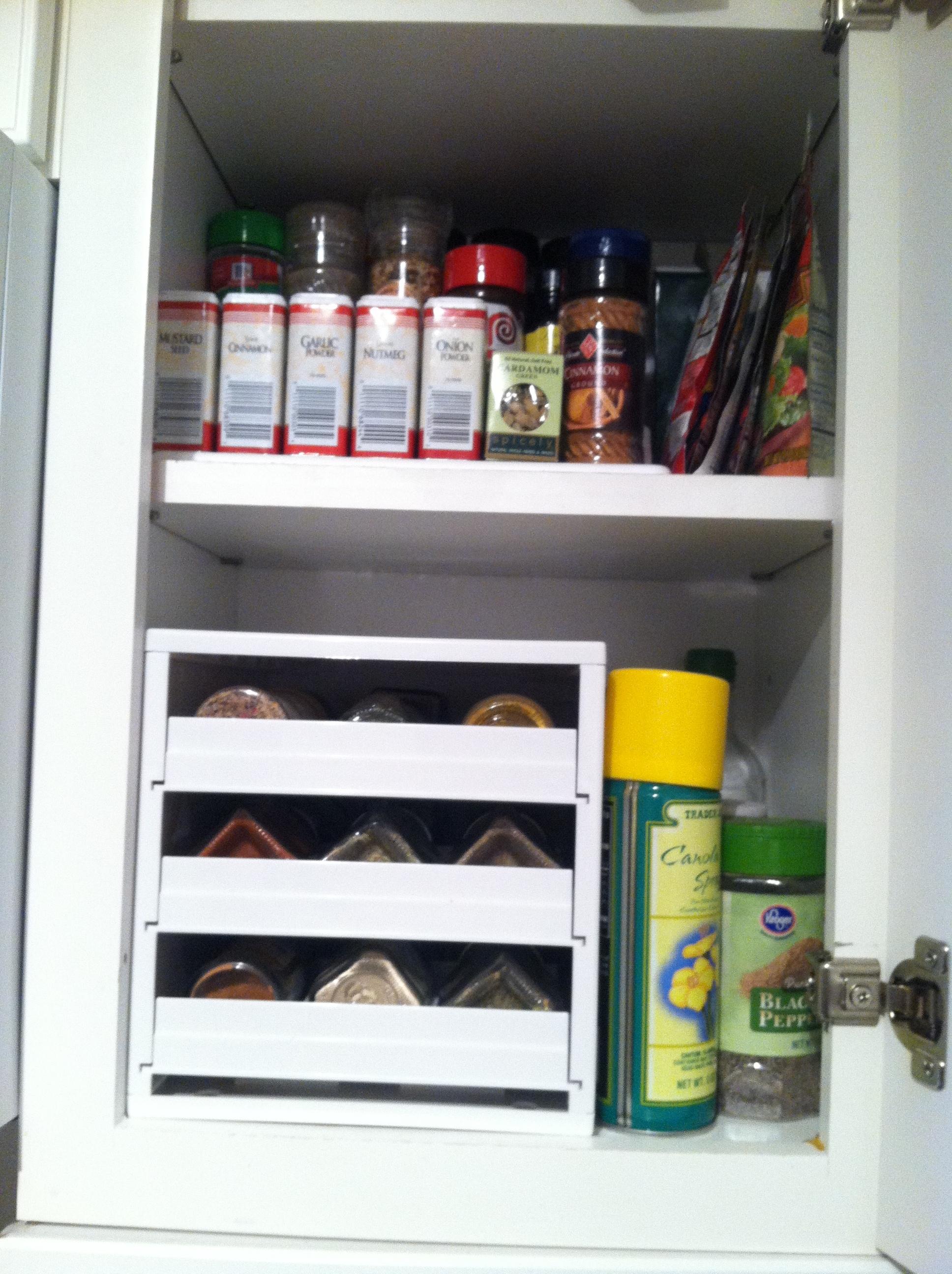 My newly organized spice shelves.