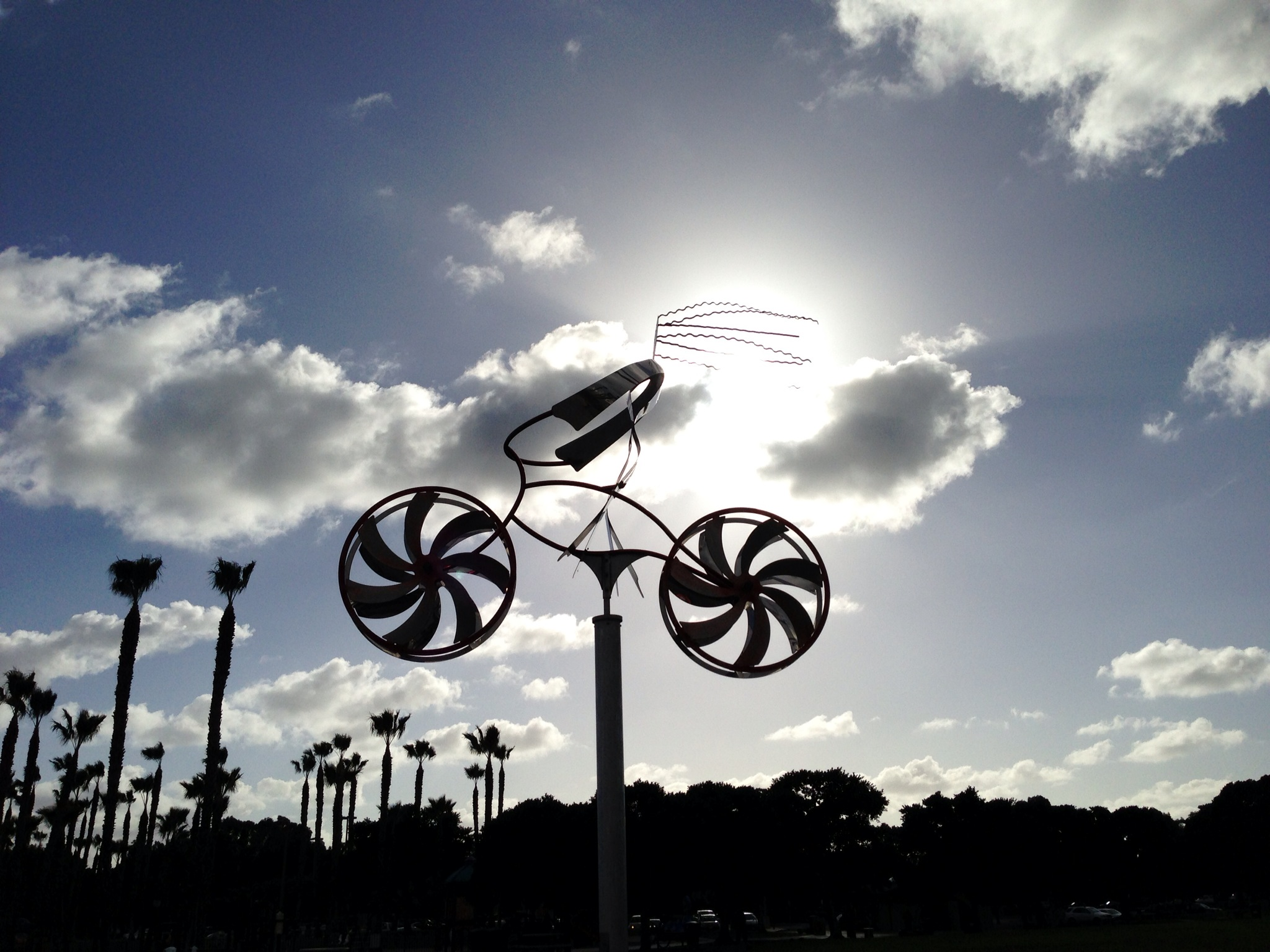 Moving bike sculpture at the park.