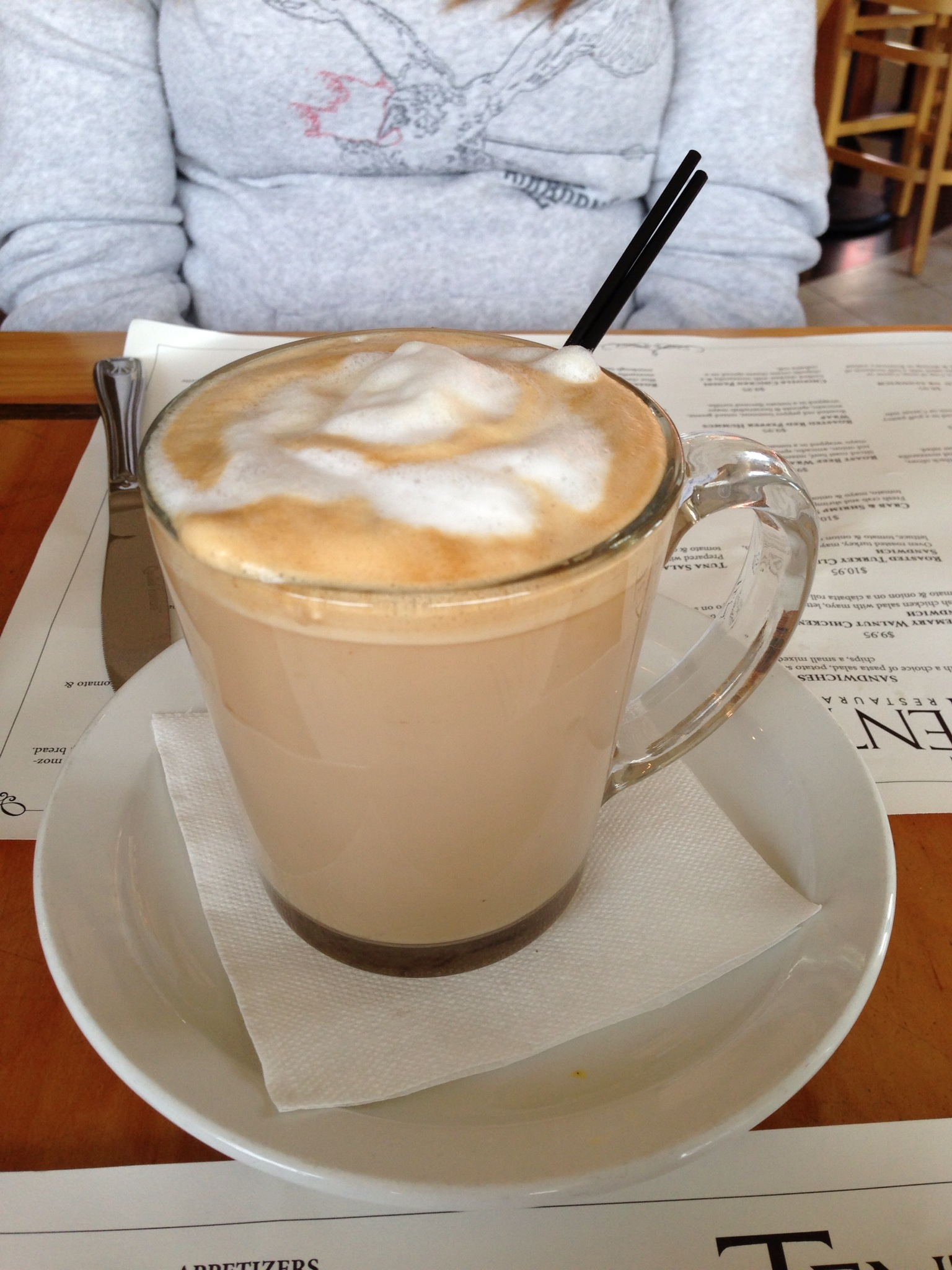 A giant latte on a overcast winter day.