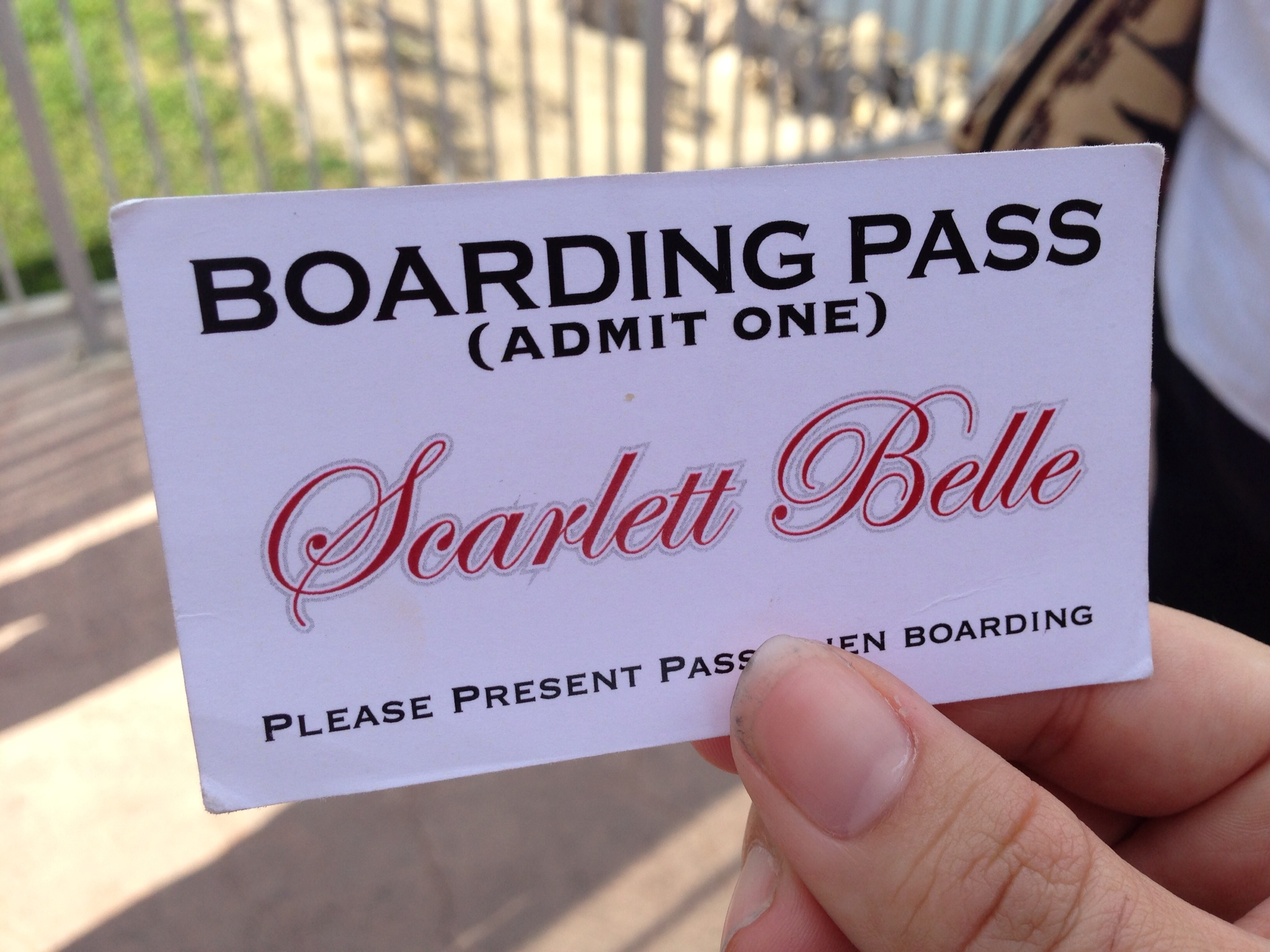My boarding pass for the Scarlett Belle.