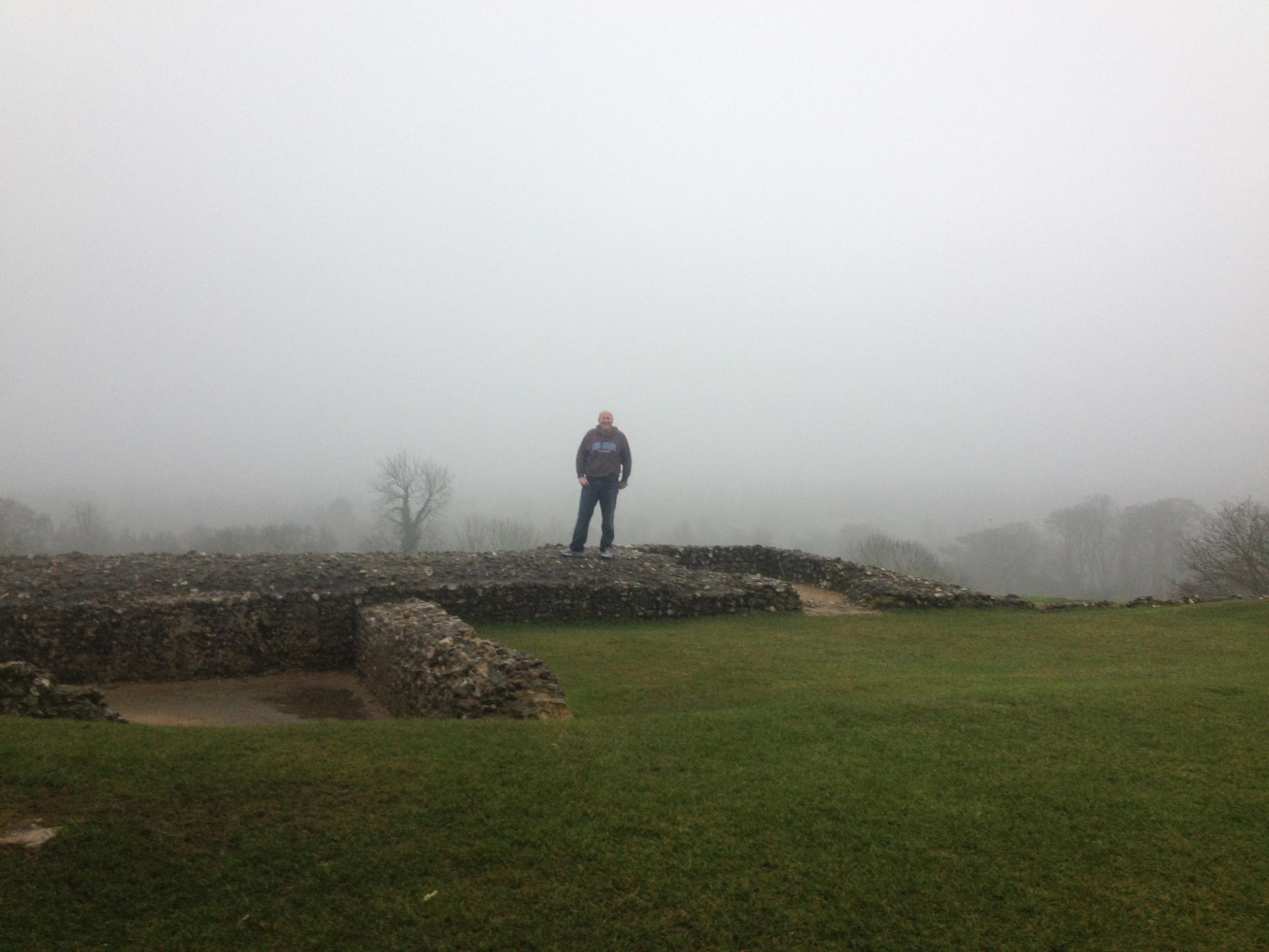 Dan in the mist at Donnington Castle