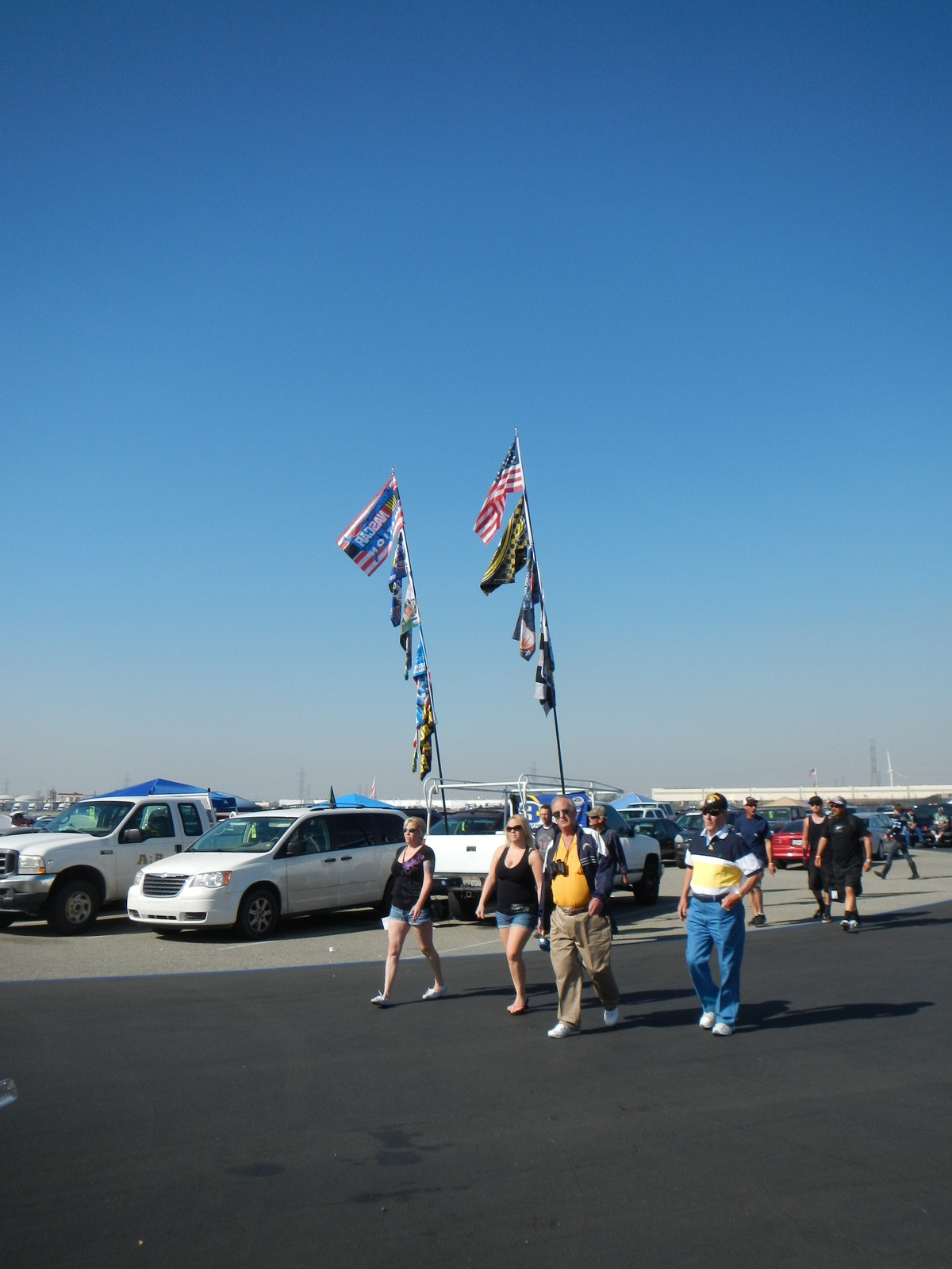 Flags in the parking lot. Lots of flags and tailgate parties!