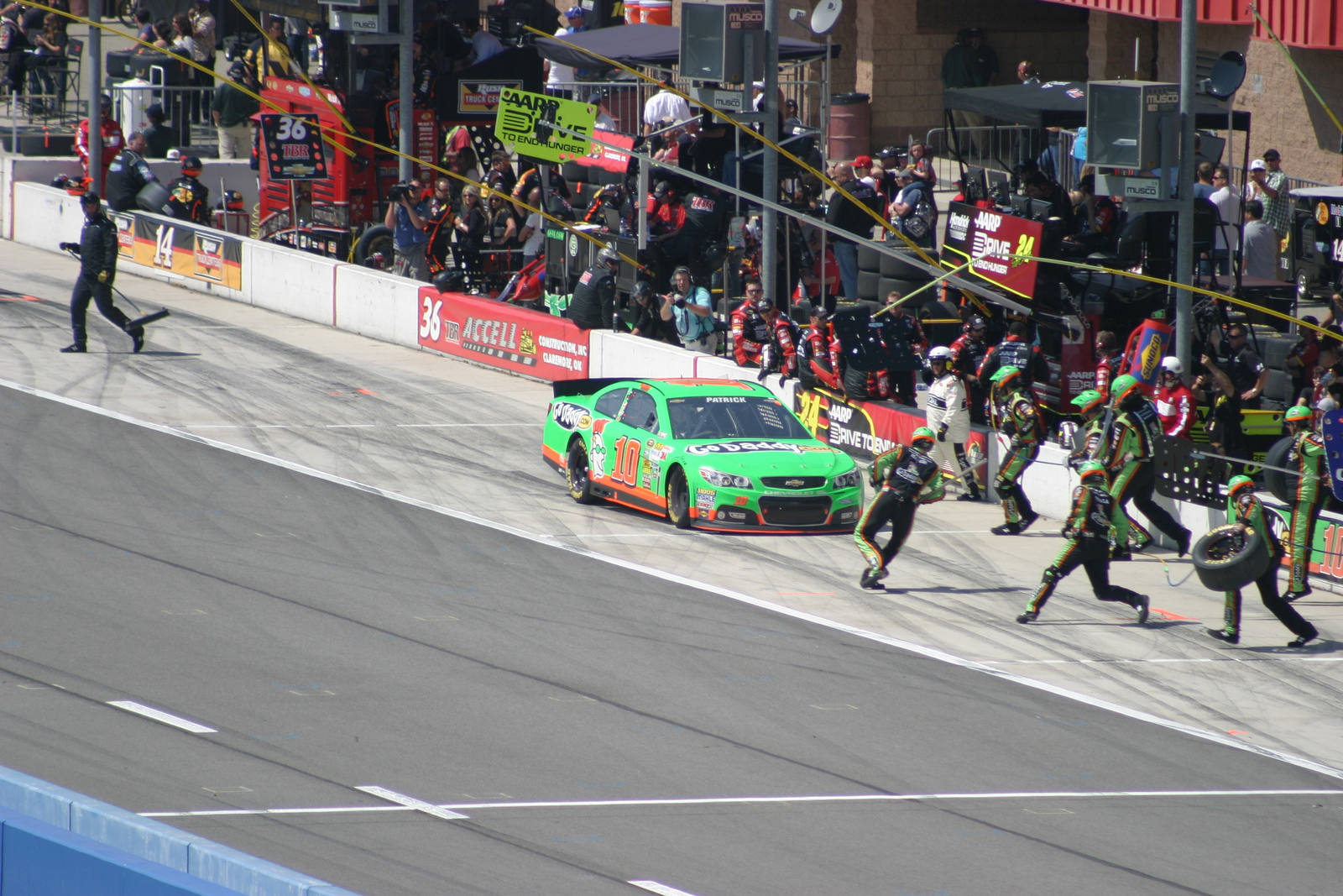 Danica Patrick pulls into the pit.