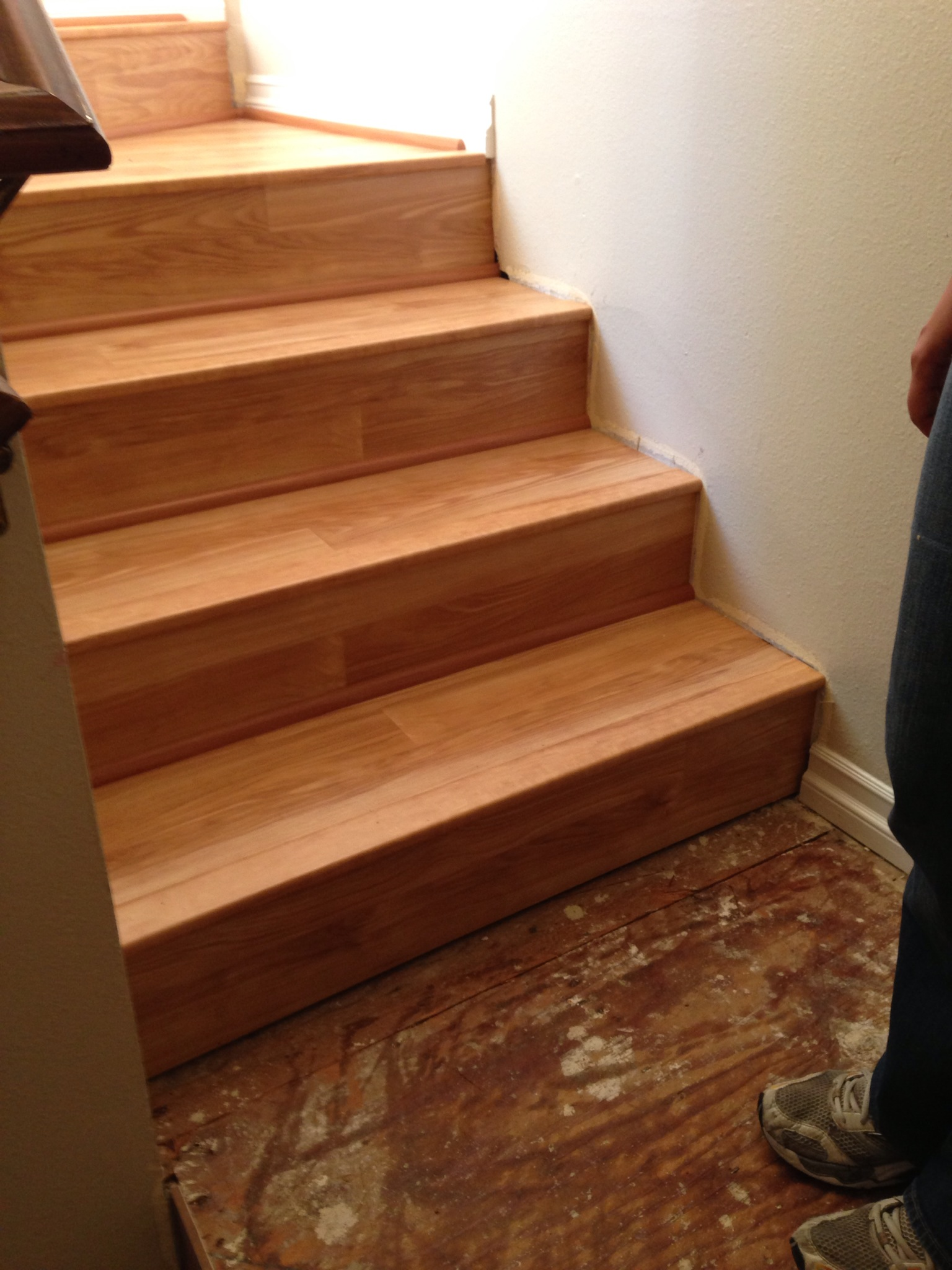 Partially finished stairs