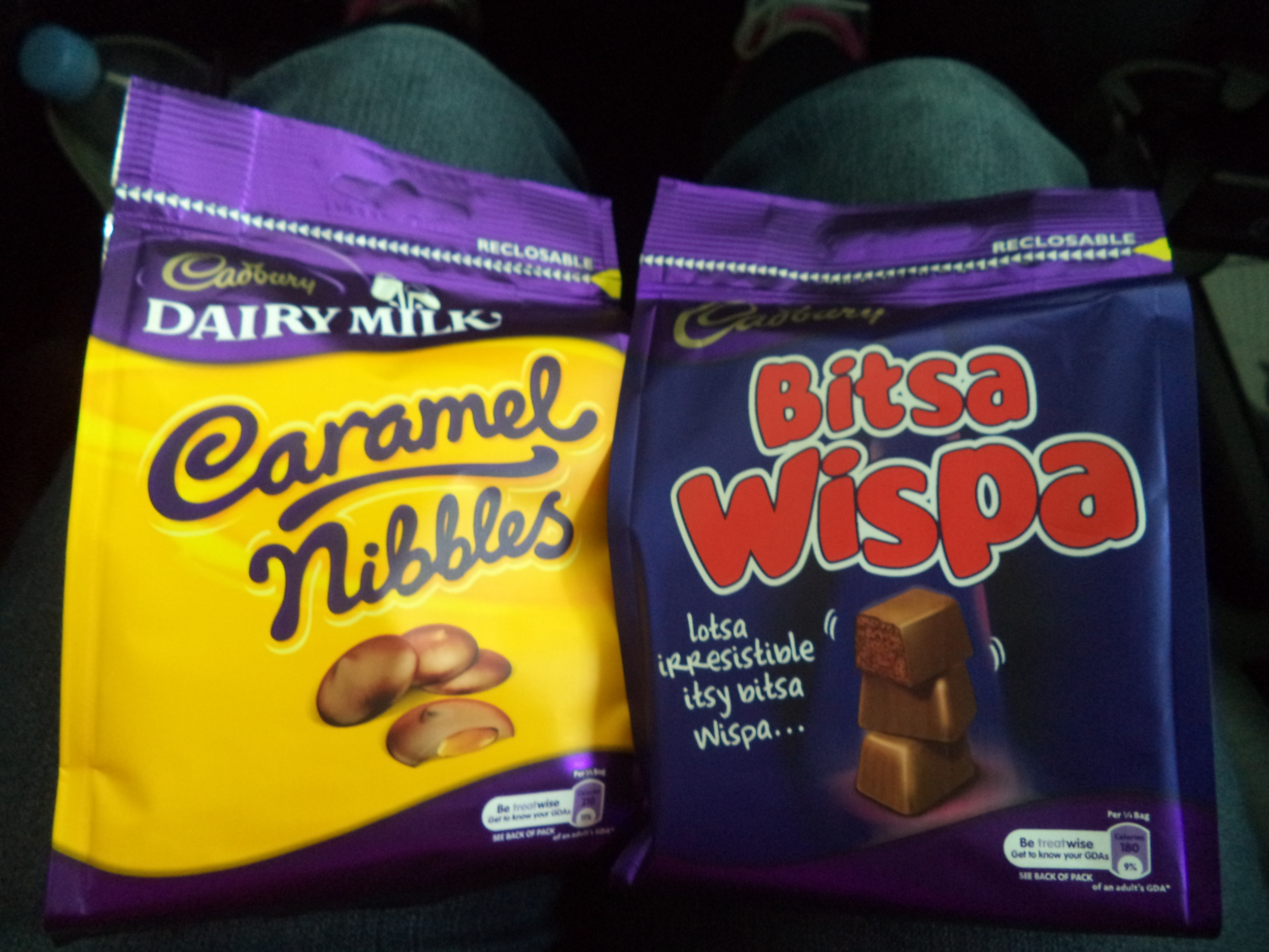 Cadbury Bitsa Wispa and Caramel Nibbles.