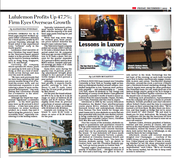 Our  Hermès  project in collaboration with Columbia Business School was published in  Women's Wear Daily , December 6, 2012.