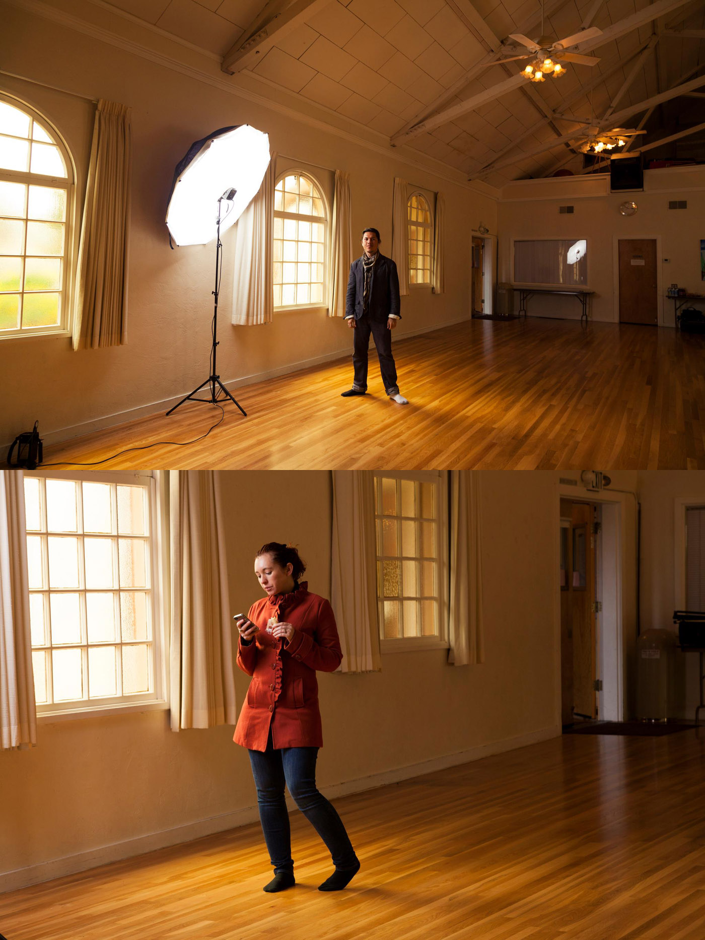 Here are a couple photos of Myself and Christa setting up for some shots at a local yoga studio.