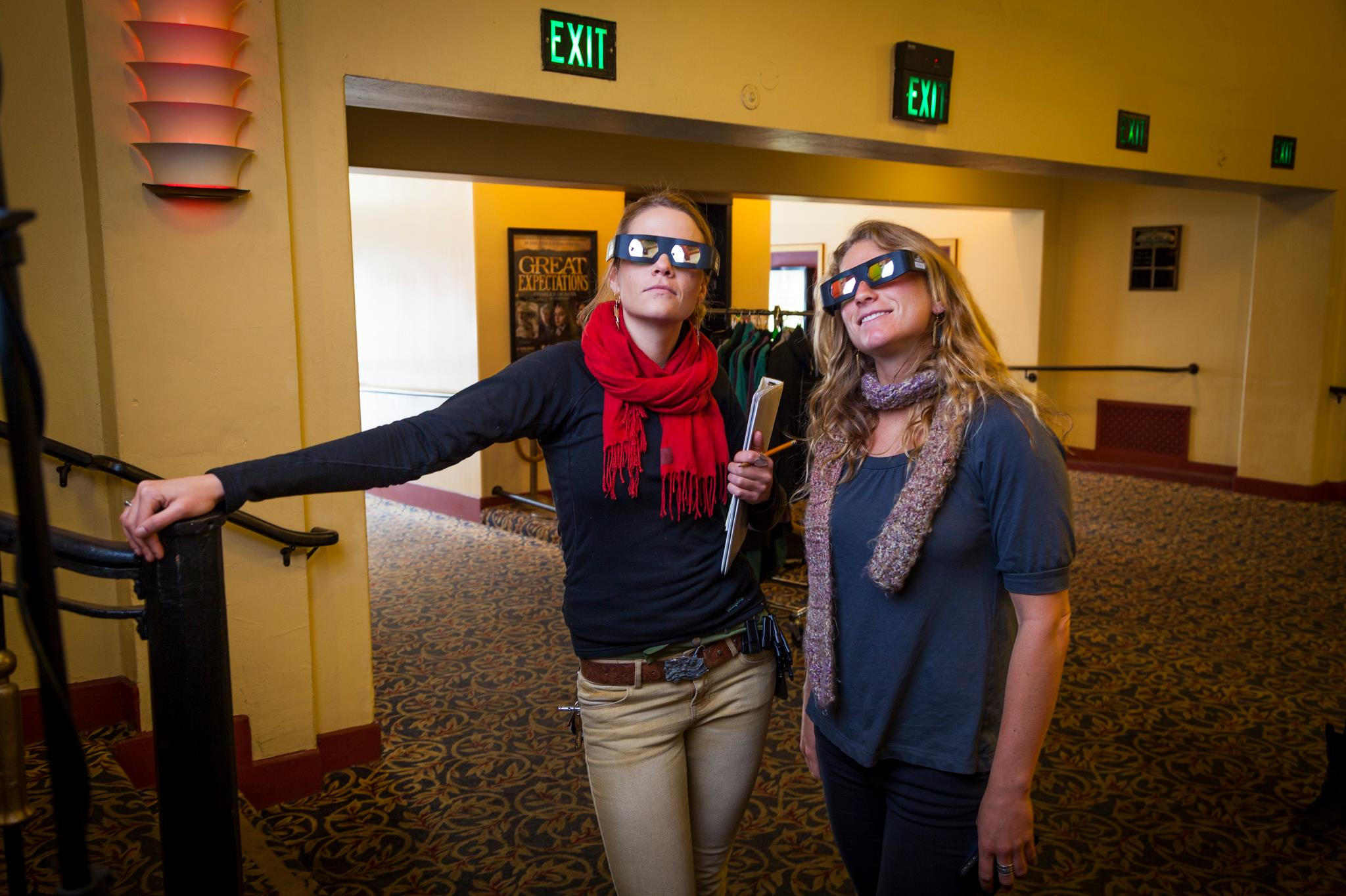 Here, our production assistants Gina and Cat have some fun with the 3D glasses at the theater we shot in.