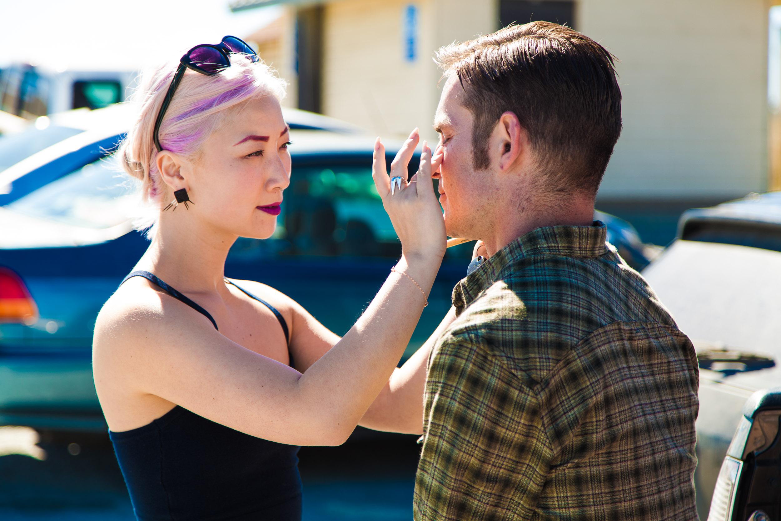 Anna doing makeup