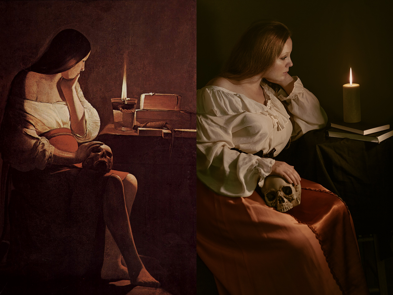 First saw The Penitent Magdalene in an art history class and then I saw a very similar work by La Tour at the Met in New York. Love how the candle light in the painting rakes across her body. Its warm, intimate, and kind of disquieting.