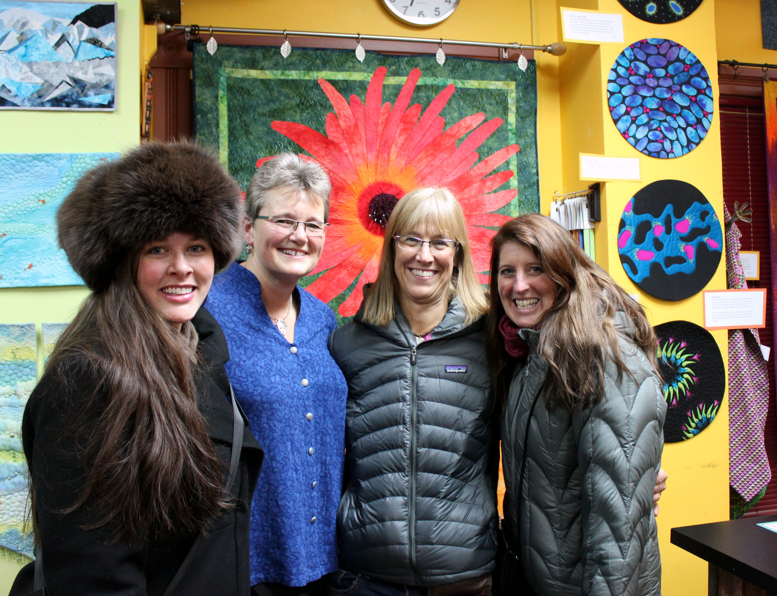 From left: myself, Fabienne, Michelle, and Debbie during Fabienne's art gallery debut.