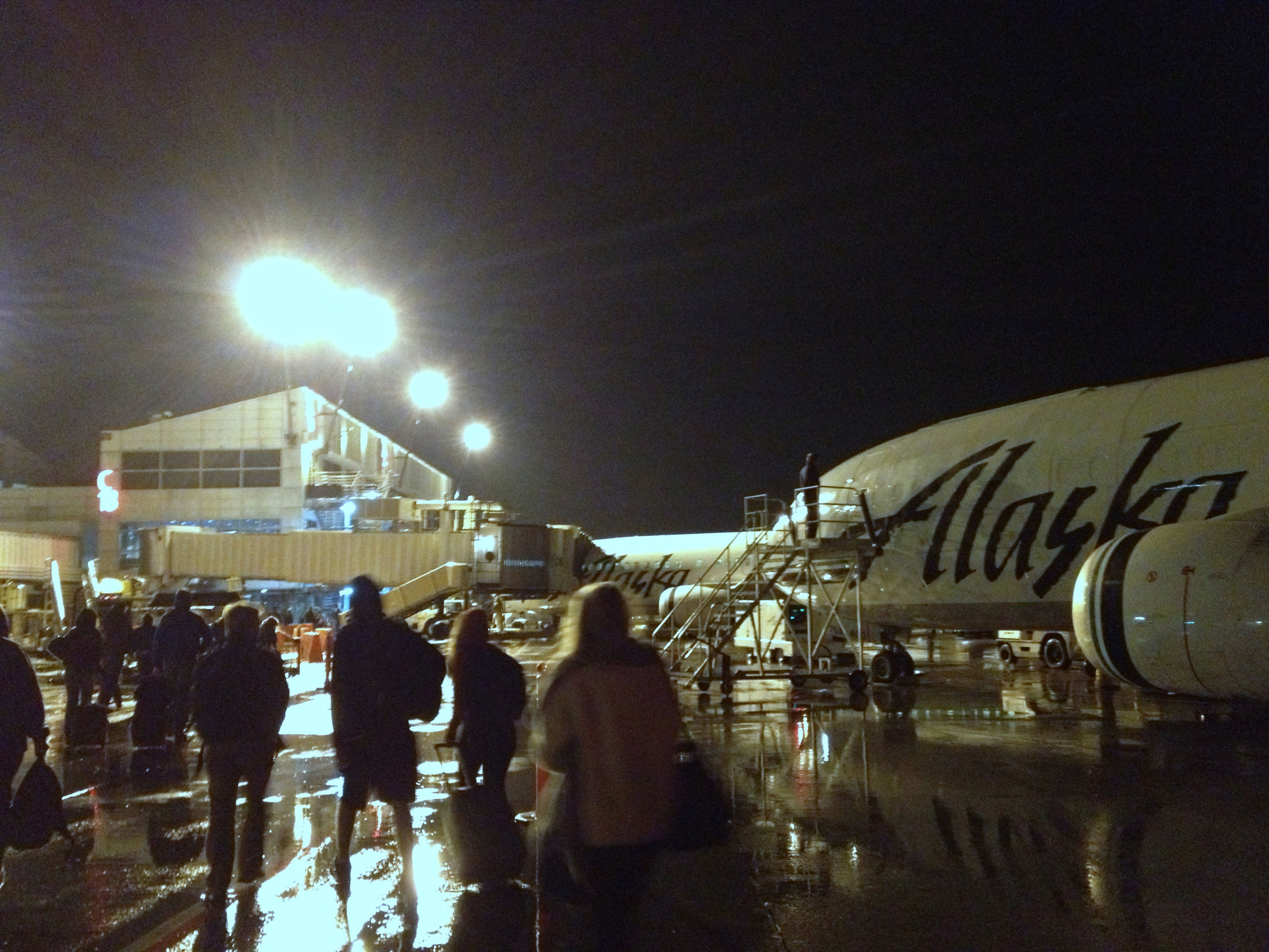 Deplaning at the  Seattle–Tacoma International  Airport