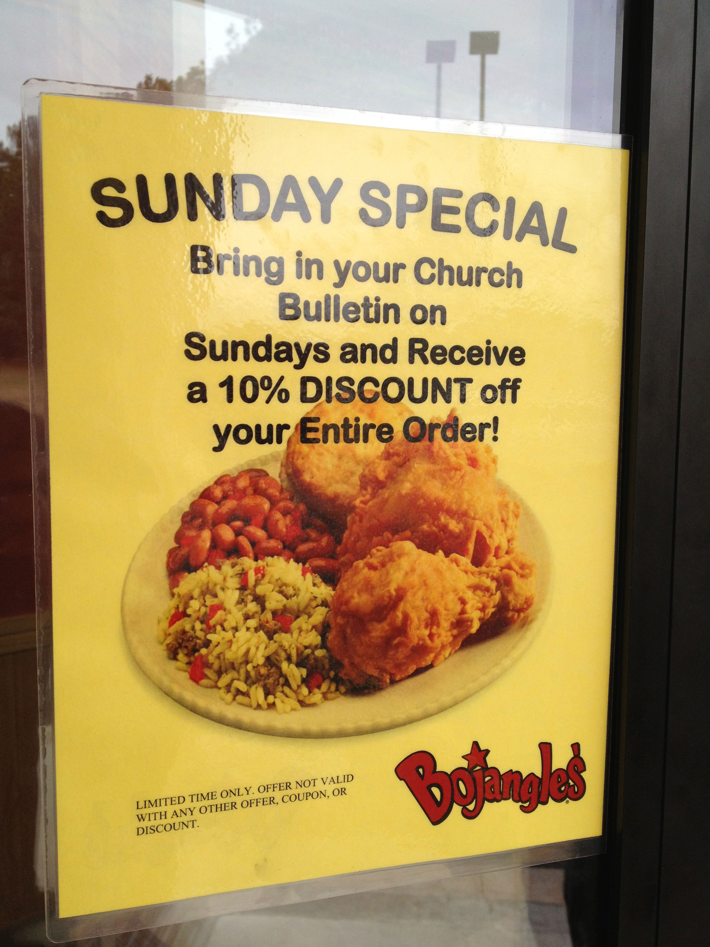 """Two Southernisms: """"Bojangles"""" and a fast food discount for going to church."""