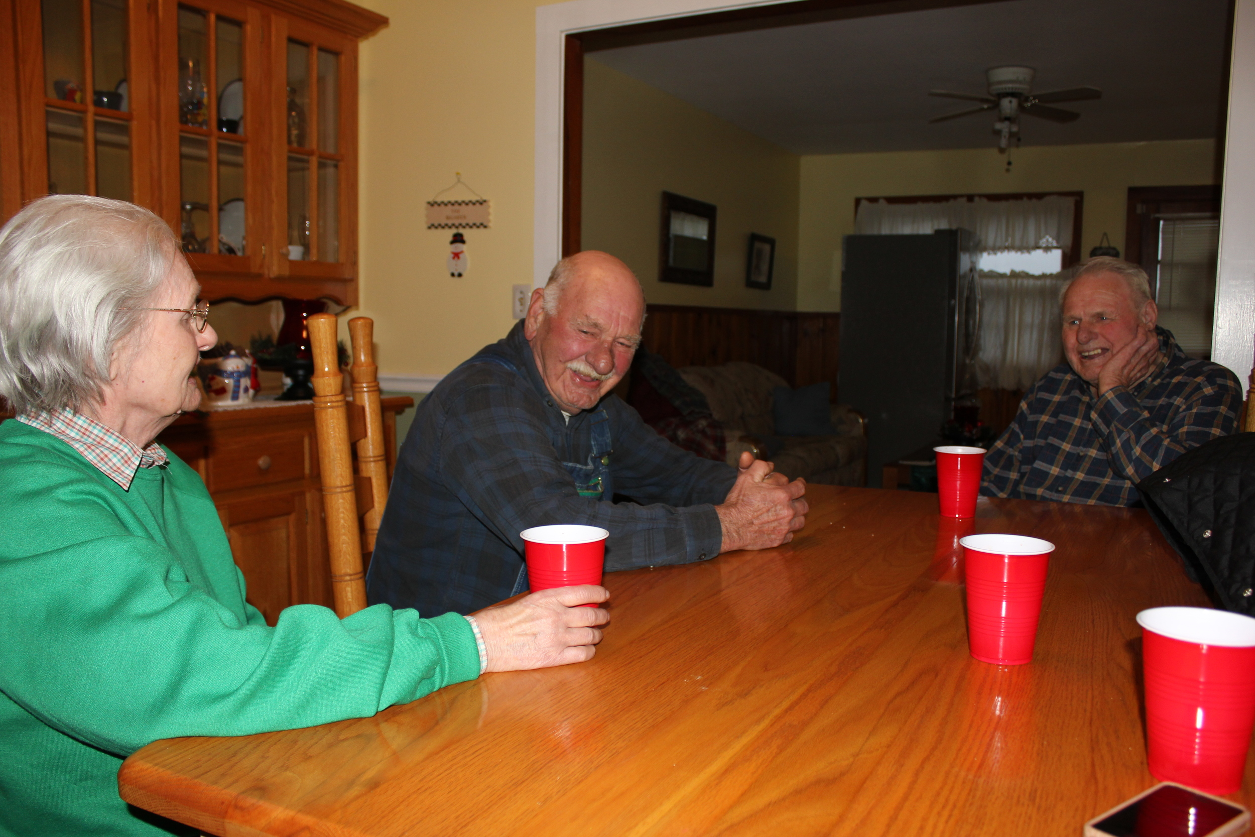 Sitting down with the family. Aunt Reba, Uncle Pug, and Uncle Junior (left to right).
