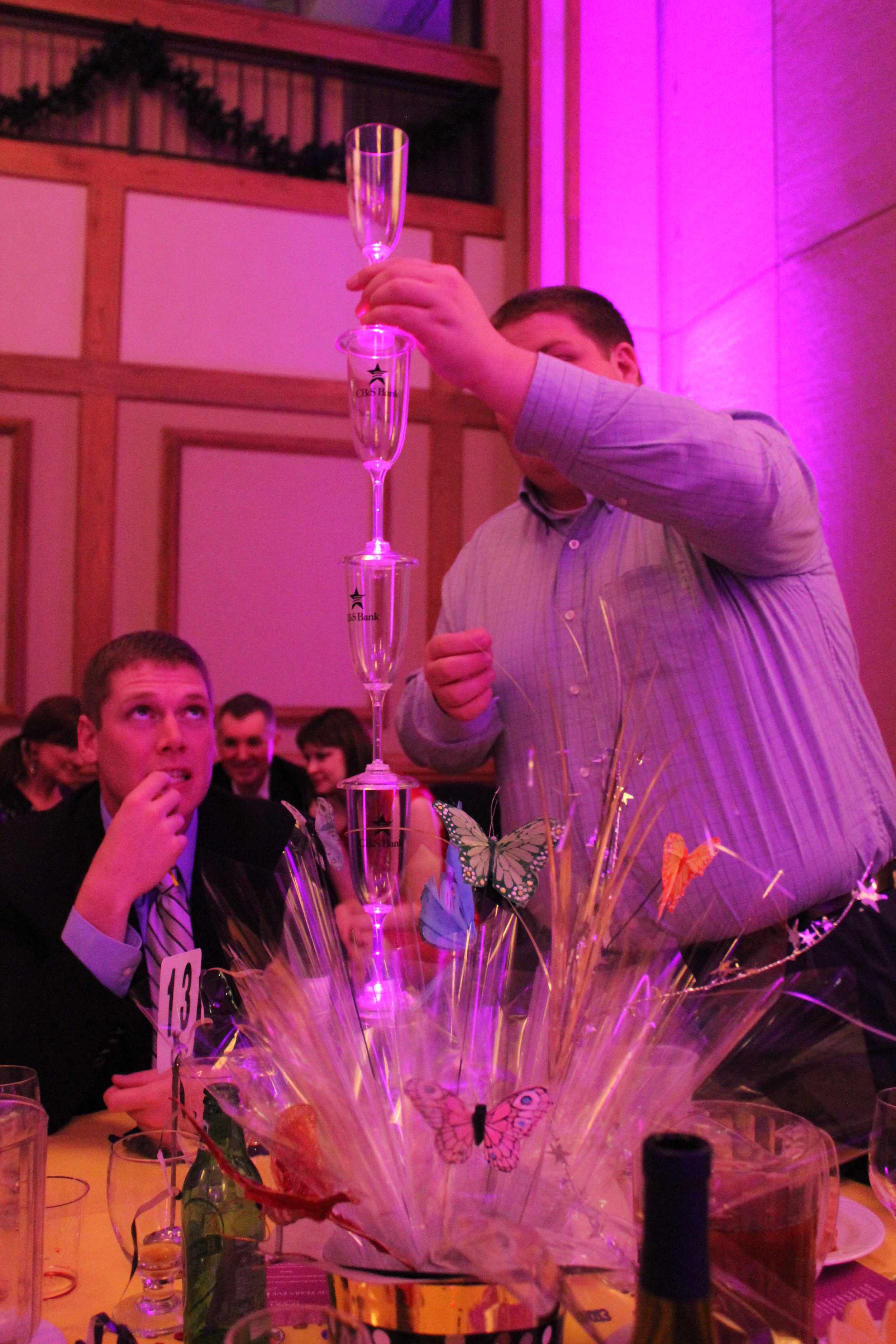 There was a competition with the other tables to see who could stack the most champagne flutes. The suspense was riveting.