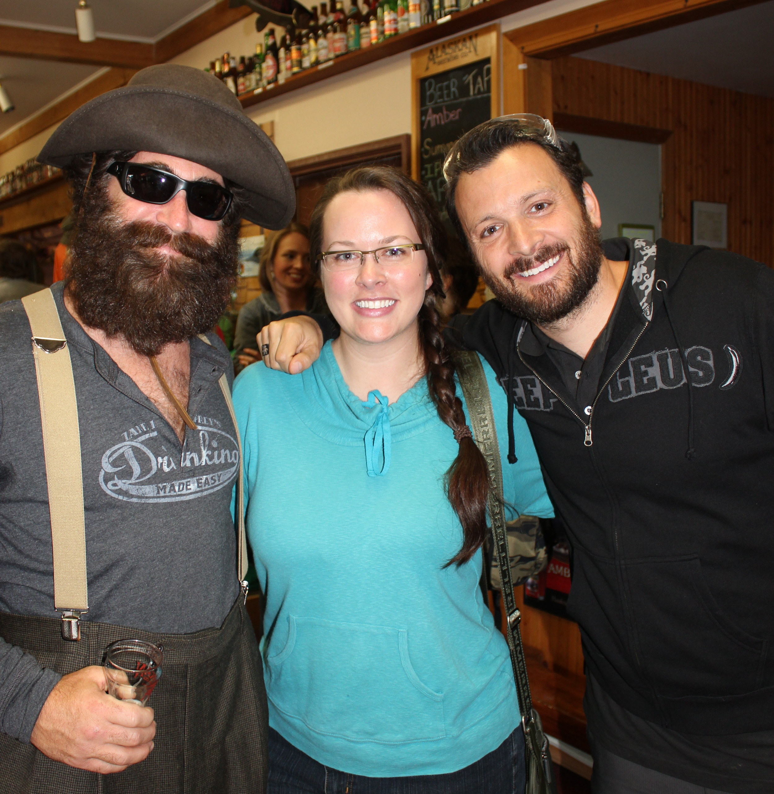 """With the """"Drinking Made Easy"""" fellas, Zane Lamprey and Steve McKenna, during their visit to Juneau. They filmed at the Alaska Brewing Company."""