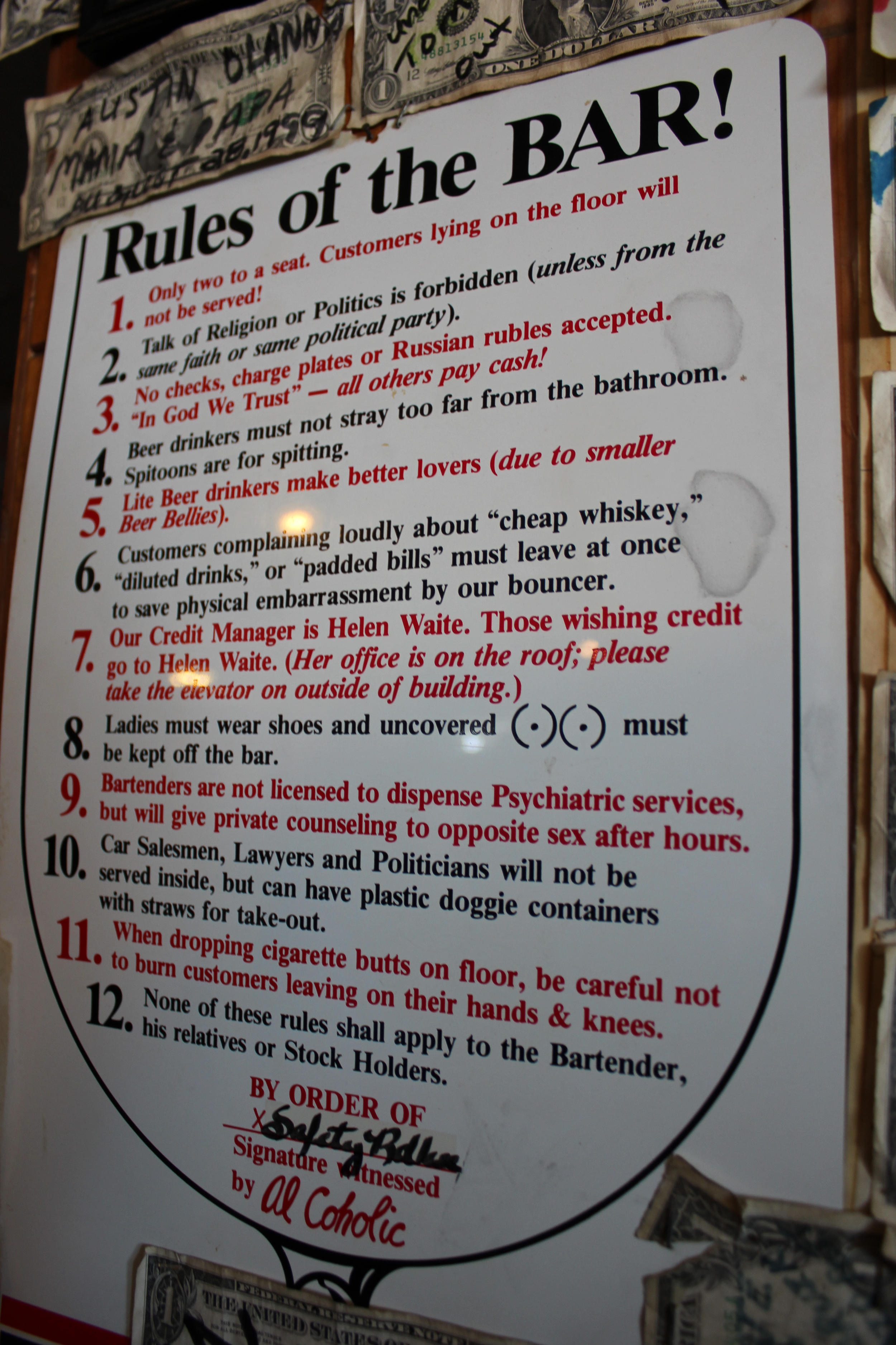 Important guidelines for patrons.