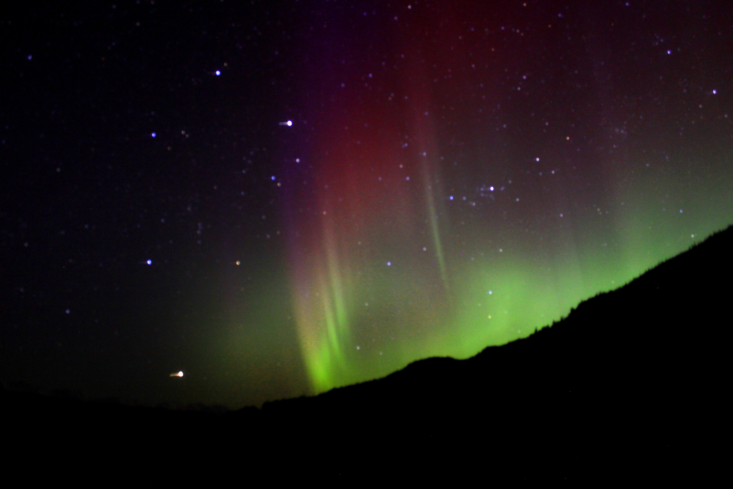 This was my first time seeing reds and purples in the aurora. What an awesome sight!