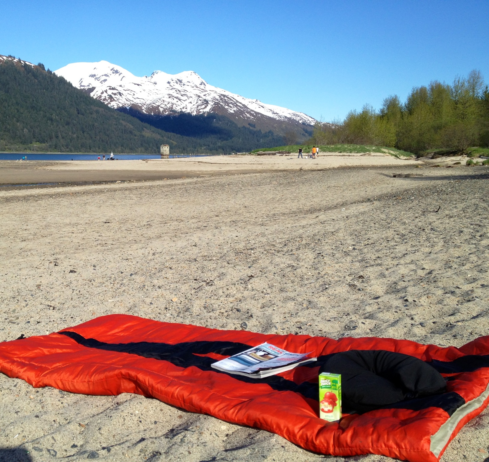 After work R&R with a sleeping bag, juice box, and sun, sun, SUN!