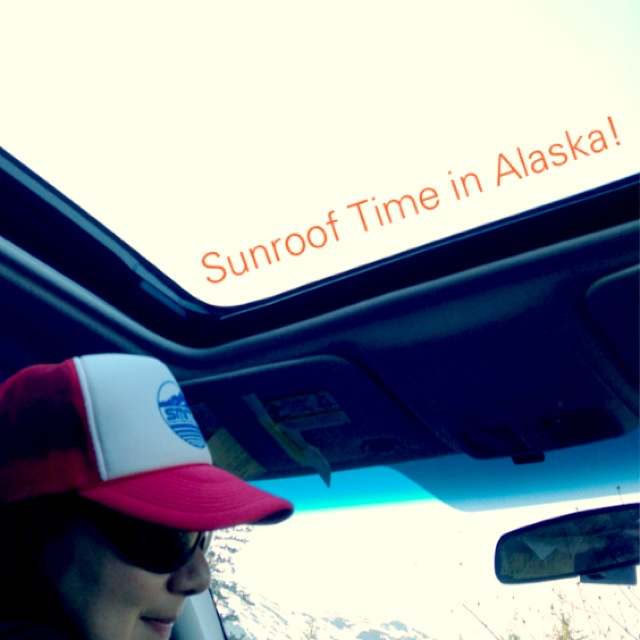 You know it's the end of winter when the sunroof is open.