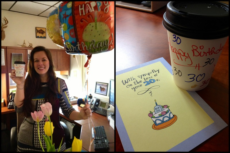 Balloons, coffee, and cards at my office. A wonderful way to start the day.