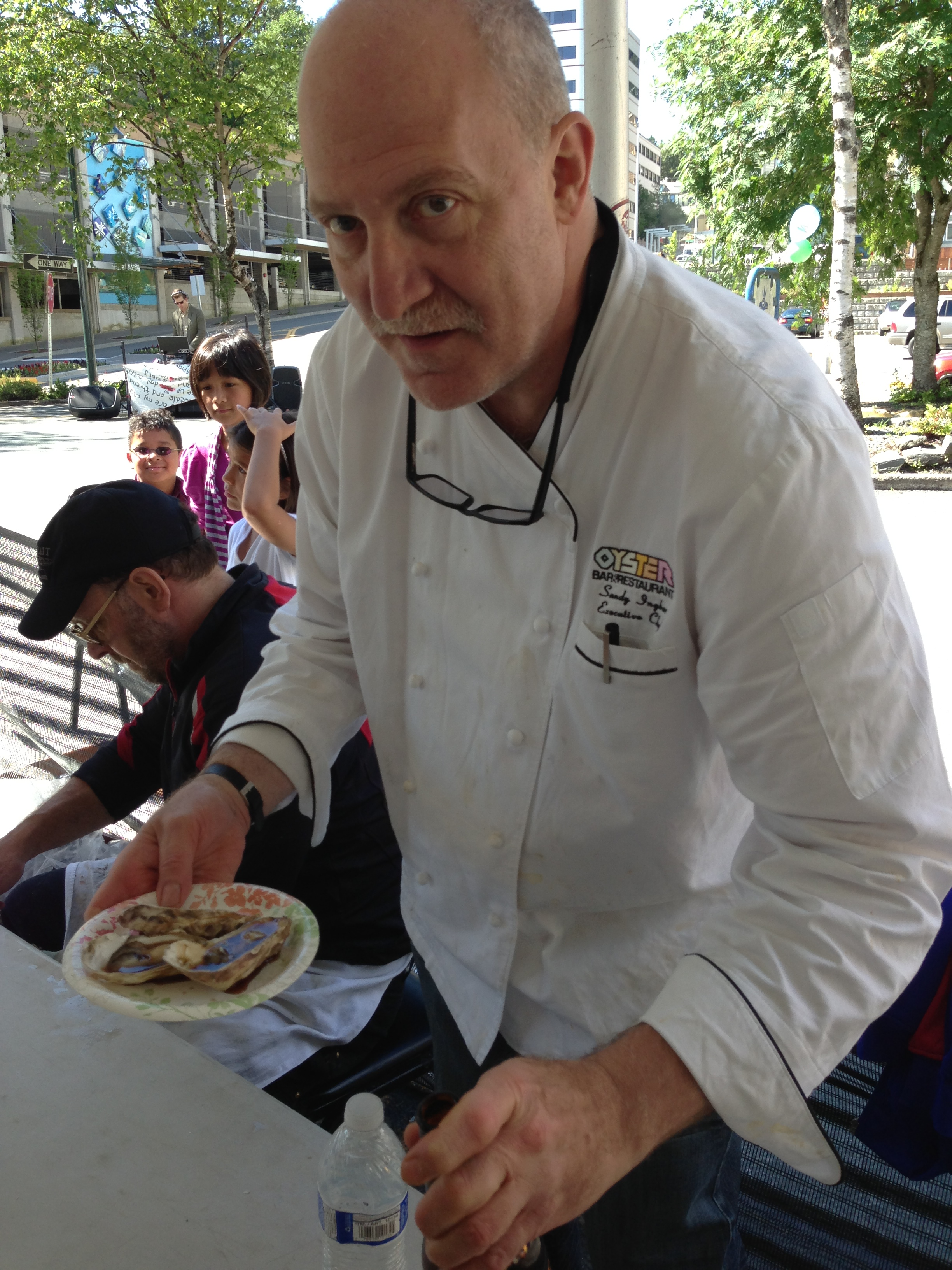 Chef Ingber preparing oyster shooters.