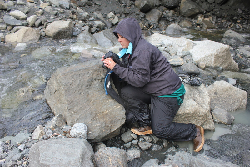 Lindsey didn't let the downpour inside the glacier deter her from taking more shots.
