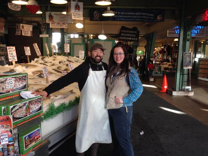 With Pike Place Market Fish Thrower,  Taho Kakutani .