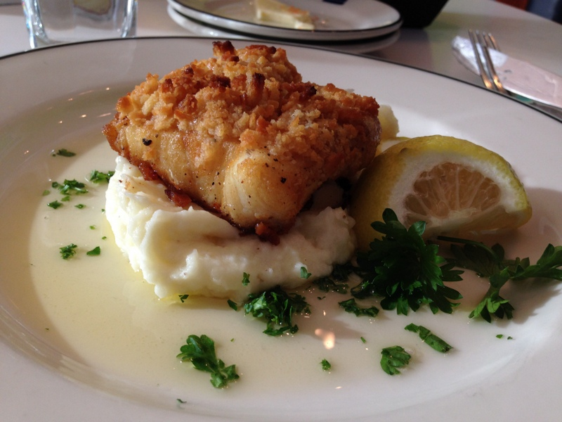 From  Blueacre Seafood : ritzy line-caught ling cod with old bay aioli, buttered crumb, and whipped potatoes.