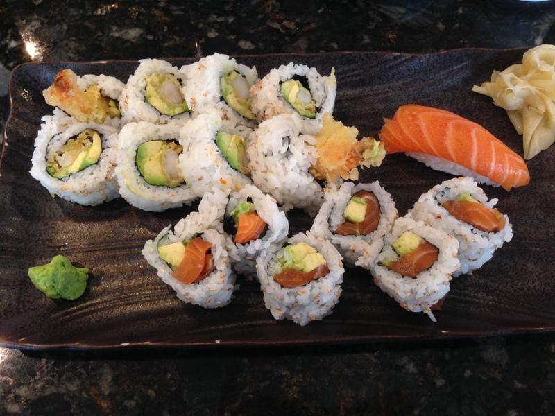 From  Fuji Sushi : salmon and shrimp sushi feast.