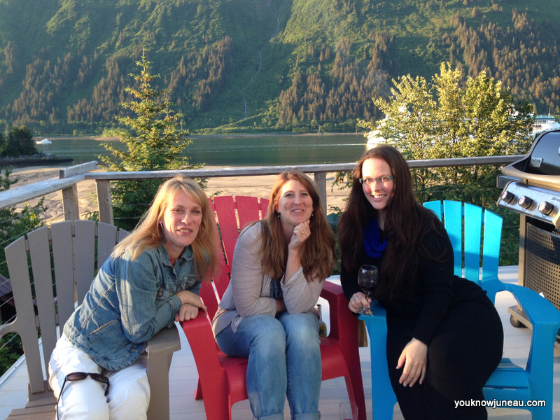 Heather, Debbie, and I enjoying the deck on a sunny Juneau evening.
