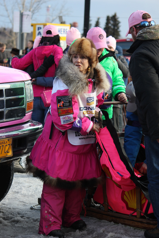 The boss of all Alaska fashion bosses, DeeDee Jonrowe.  She rocks this pink fur-lined parka LIKE NO OTHER.