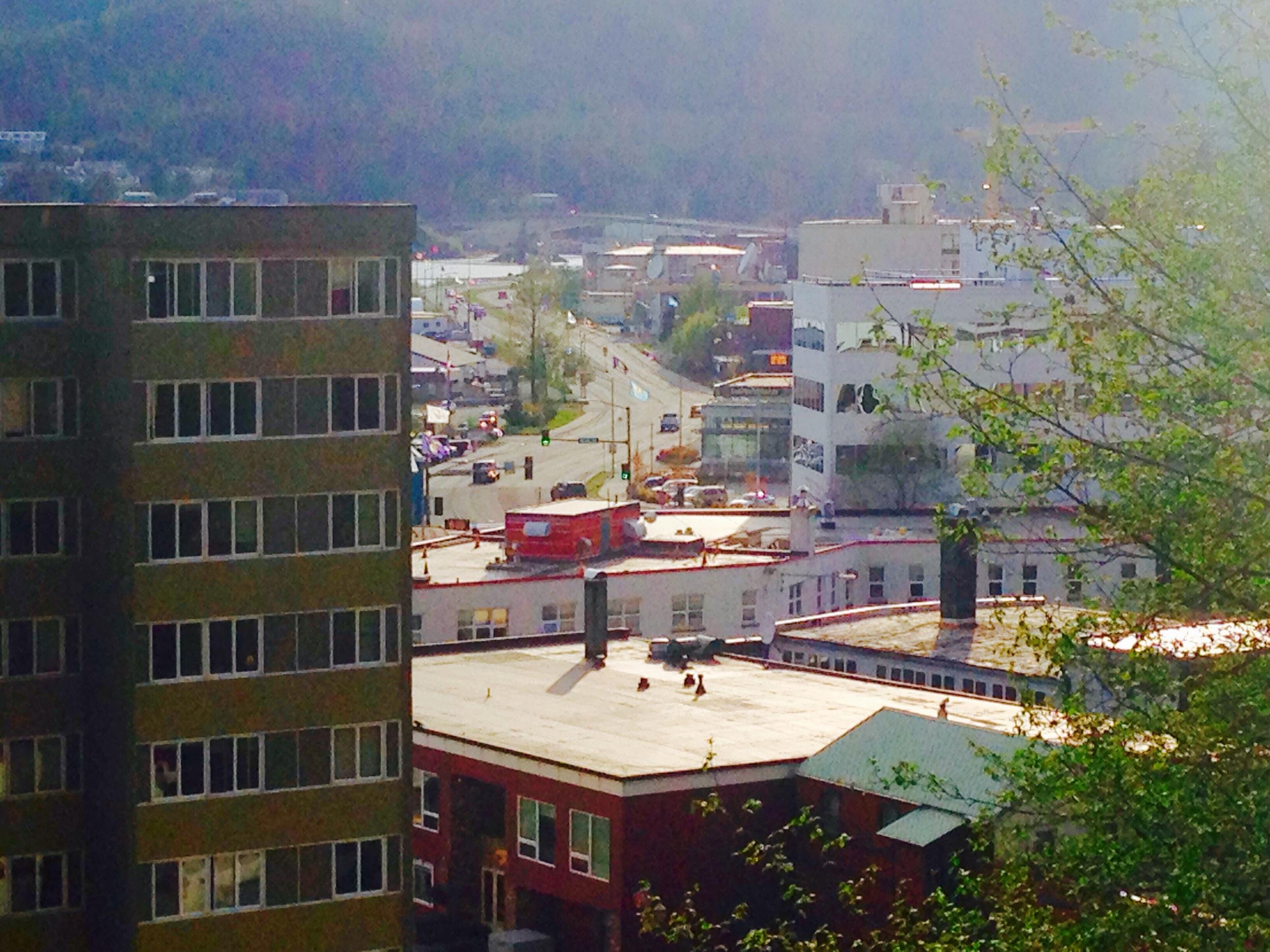 The view across downtown Juneau to Egan Drive.