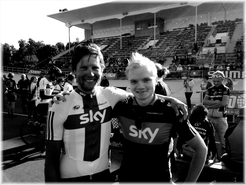 Together with Kjell Carlström at the finish line in Tour de Helsinki 2011