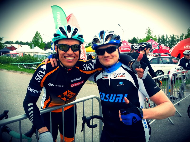 At the finish with Alexander Stubb. He had beaten my time, again.