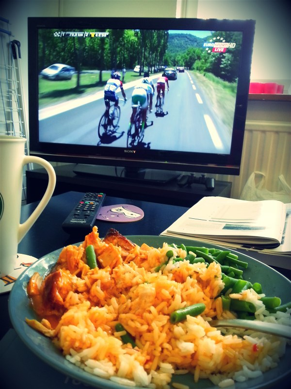 Rice, chicken and green beans, my fuel-up-for-a-race-nutrition, always