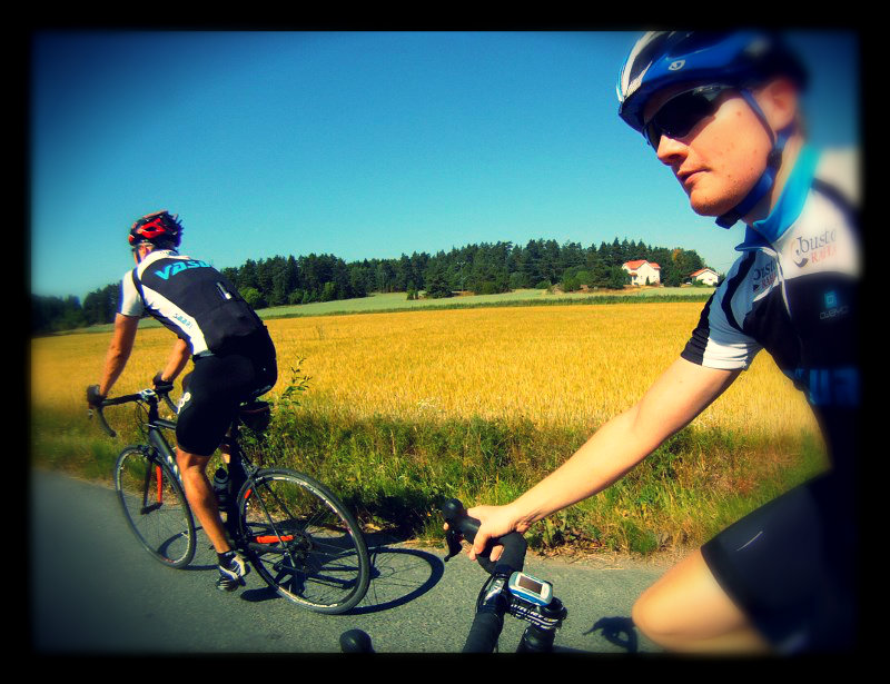 The weather has been superb. Here riding with Juha in Ohensaari.