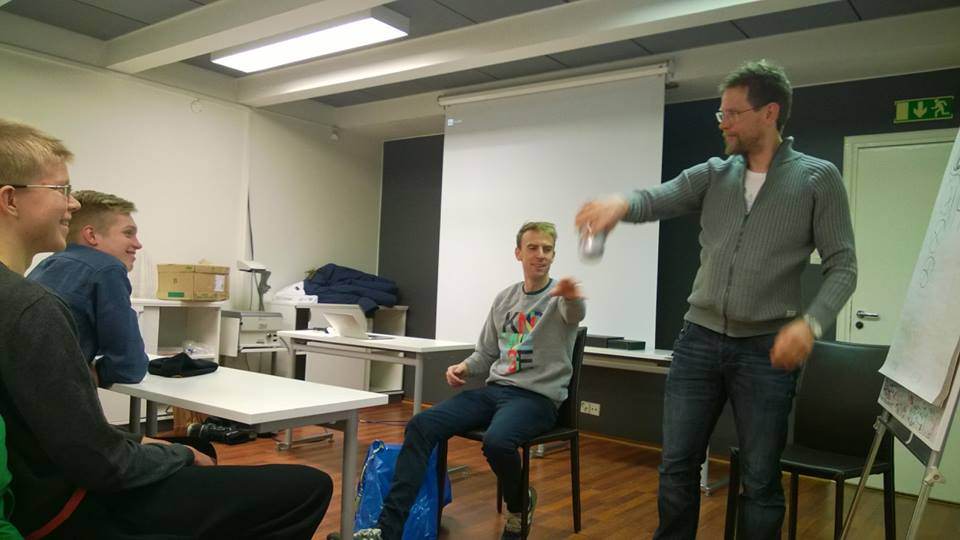 Kjell and Charlie teaching our youth! (picture from  Suomen Pyöräily Nousuun facebook page )