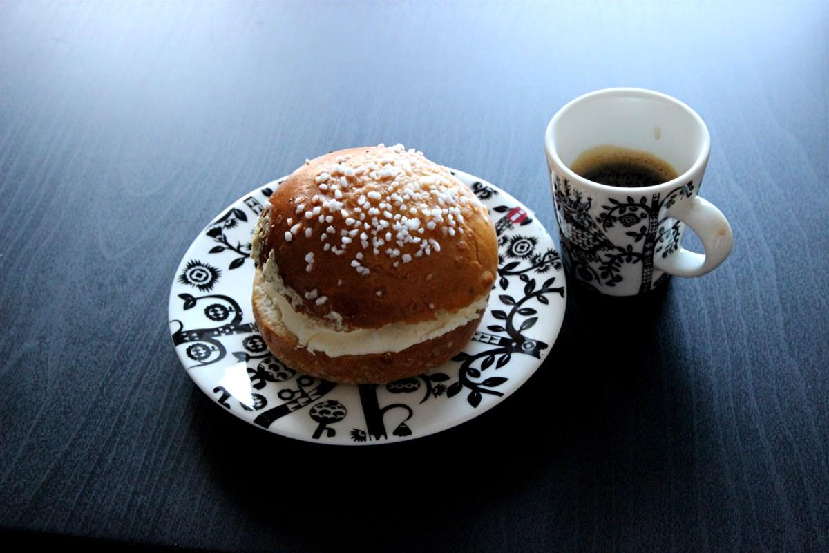 Finnish laskiaispulla. Whipped cream, almond paste and strawberry jam. 100 % empty calories.