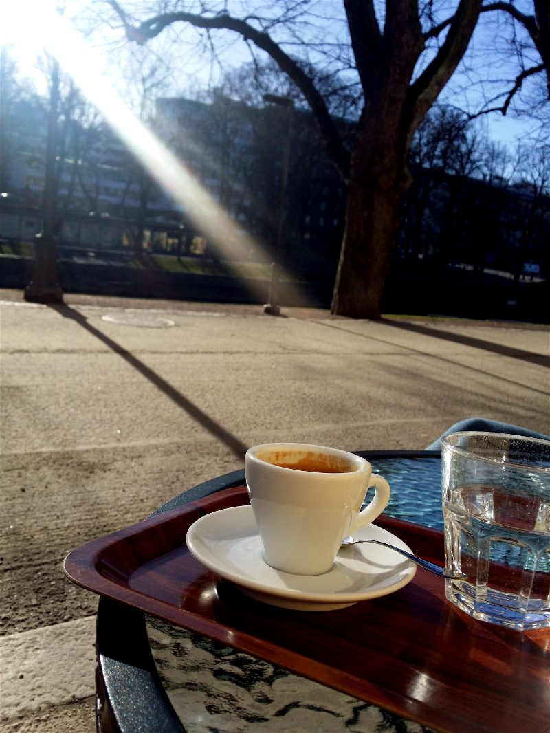 Morning coffee at the River Aura