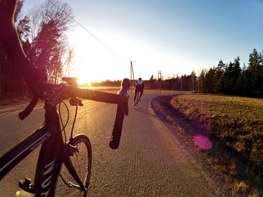 A perfect way to end the perfect road cycling weekend. Sunset in Hirvensalo