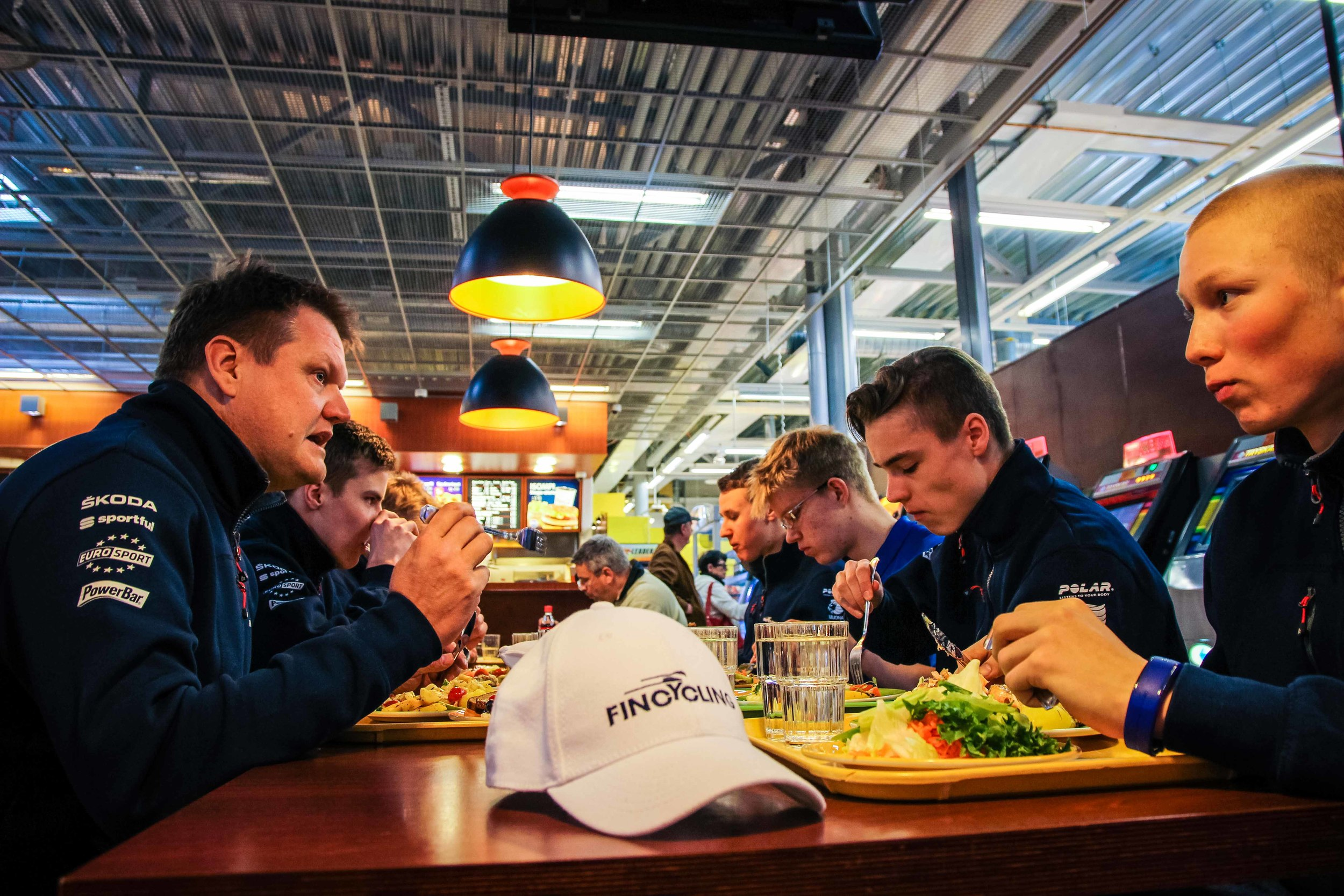 Proper lunch and discussion about the upcoming race