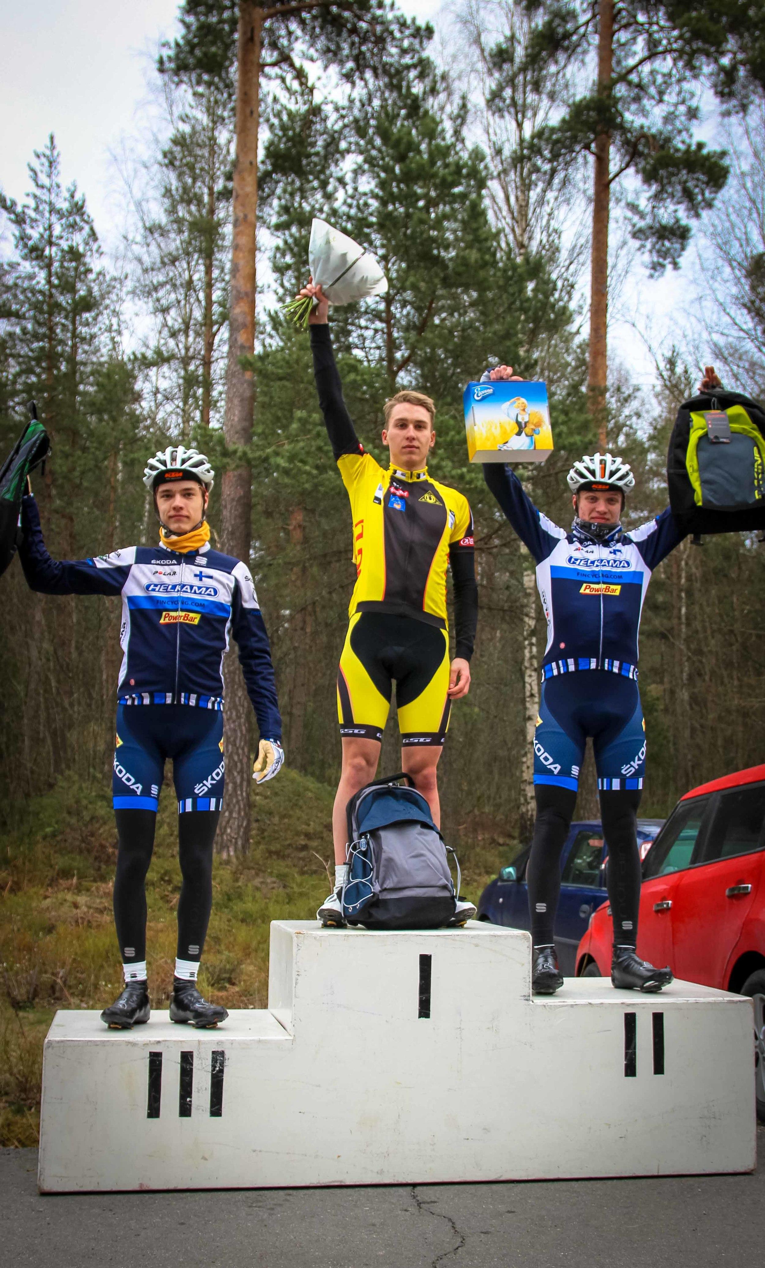 M-18 class podium Joel Bergman (3rd), Erik Relanto (1st) and Simo Terävä (2nd)