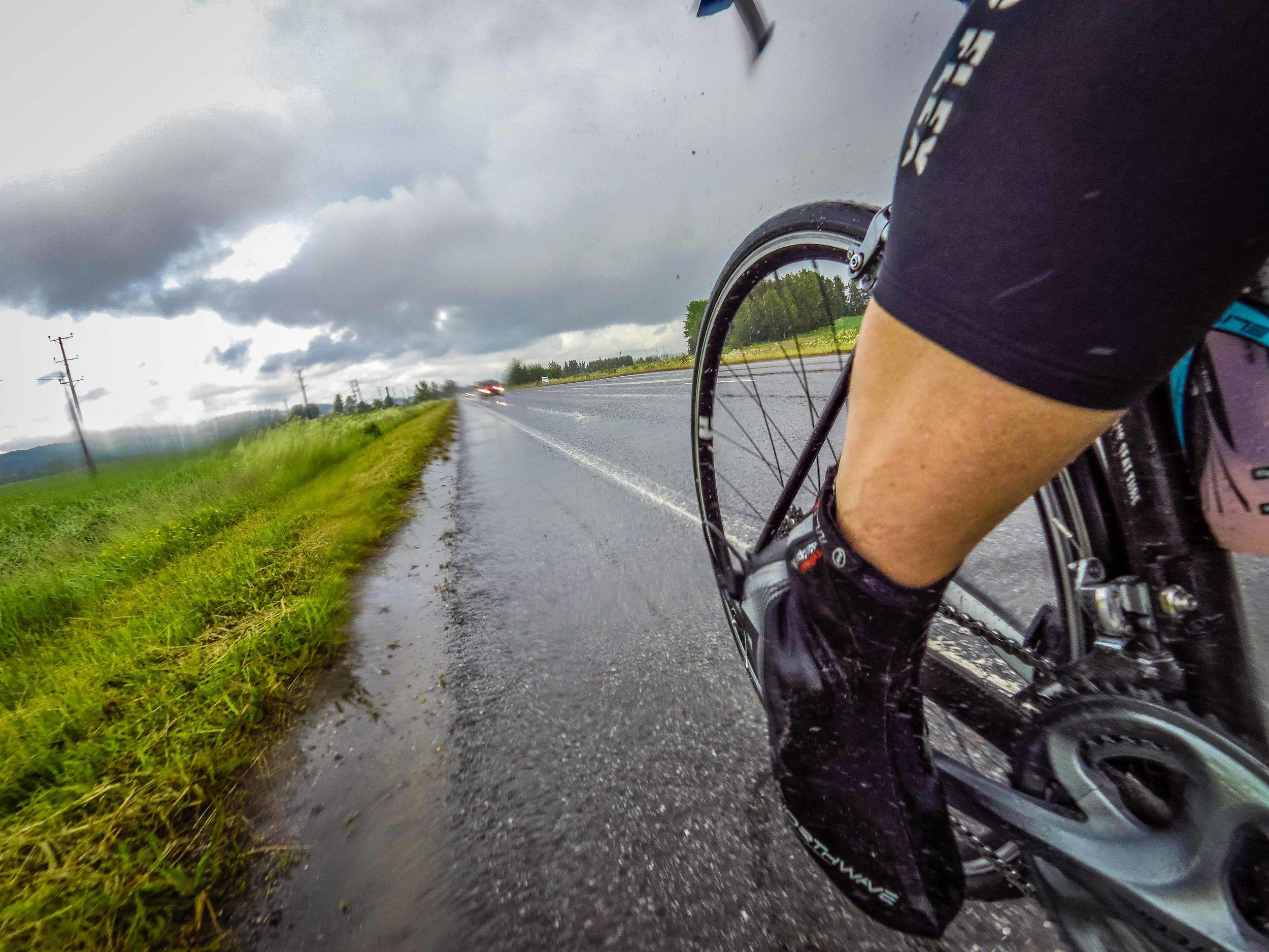 Midsummer riding in heavy rain